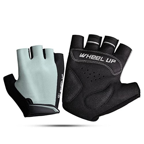 ZHUOTOP Sports Racing Cycling Motorcycle MTB Bike Bicycle Gel Half Finger Gloves grey-S