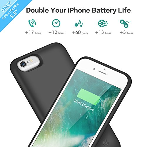 iPhone 6s Plus/ 6 Plus Battery Case 8500mAh, Rechargeable Extended Charging Case iPhone 6Plus Battery Pack Apple 6s Plus Portable Power Bank [5.5 inch]- Black by Pxwaxpy (Image #2)