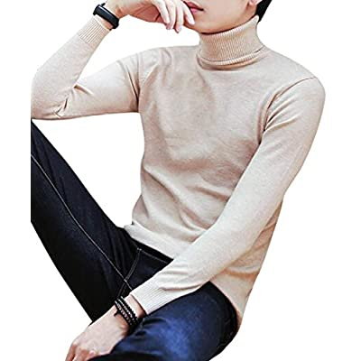 Discount Oberora-Men Winter Solid Color Base Turtleneck Slim Fit Knitted Pullover Sweater