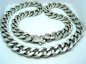"Mens Curb Cuban Link Heavy Chain Necklace Stainless Steel 316L 24"" 11.5mm (1/2"") 145 gram"