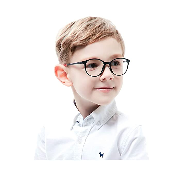 f9e9e97181631 Teens Kids Glasses Frame Flexible Smart Looks Cute Black and Red Eyewear  Frame with Clear Round