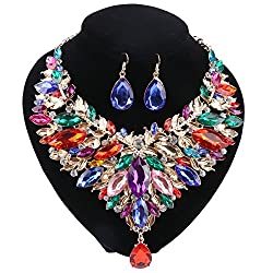Gold Plated Rhinestone Crystal Necklace/Earring Set