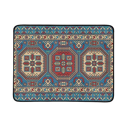 GIRLOS Colorful Oriental Mosaic Kazak Rug Traditional Portable and Foldable Blanket Mat 60x78 Inch Handy Mat for Camping Picnic Beach Indoor Outdoor Travel
