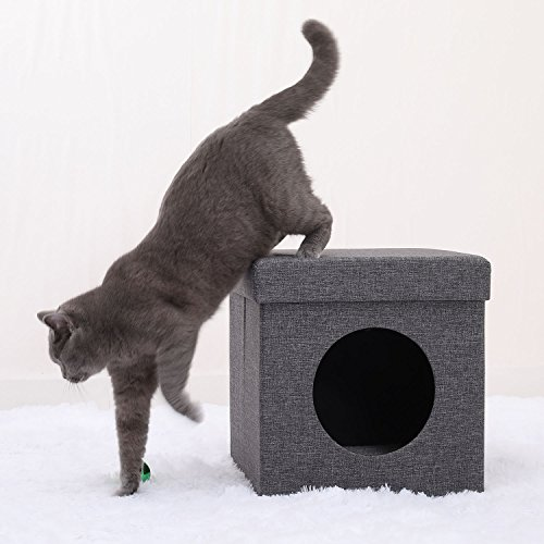 Ollieroo Portable Cat Cube Bed, Collapsible Cat Condo/Cat House with Soft Plush Interior Bedding, Grey
