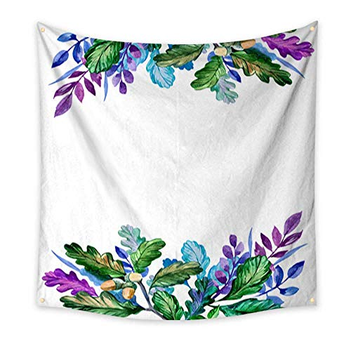 BarronTextile Tapestry Multi-Purpose Decorative Wall Hanging Watercolor Frame with Oak Leaves and Plants Hand Drawn Floral Illustration Bedspread Picnic Bedsheet Blanket Wall Art Tapestry 60
