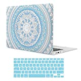 iCasso Macbook Air 13 inch Case With Keyboard Cover Rubber Coated Soft Touch Hard Shell Protective Cover For Macbook Air 13 Inch Model A1369/A1466 - Blue Medallion