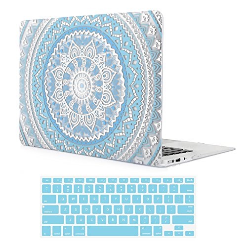 Simple Design Hard Case (iCasso Macbook Air 11 inch Case With Keyboard Cover Rubber Coated Glossy Hard Shell Protective Cover For Macbook Air 11 inch Model A1370/A1465 (Blue Medallion))
