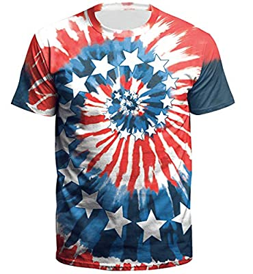 Arvilhill Men's American Flag 3D Pattern Patriotic Short Sleeve T Shirts