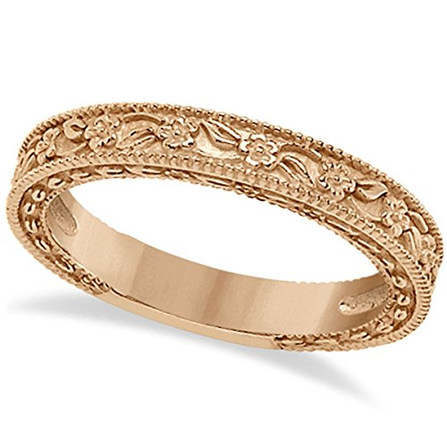 Carved Floral Designed Wedding Band Stackable Anniversary Ring in 18K Rose Gold