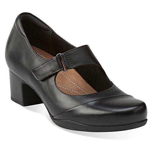 Cross Strap Mary Jane - Clarks Women's Rosalyn Wren Pump, Black Leather, 10 M US