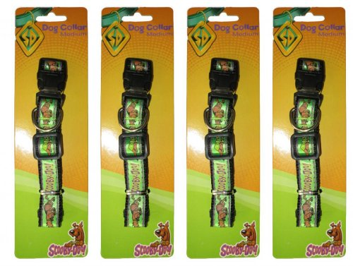 Scooby Doo (4 Pack) Medium Adjustable Green Collar with Clip & Ring