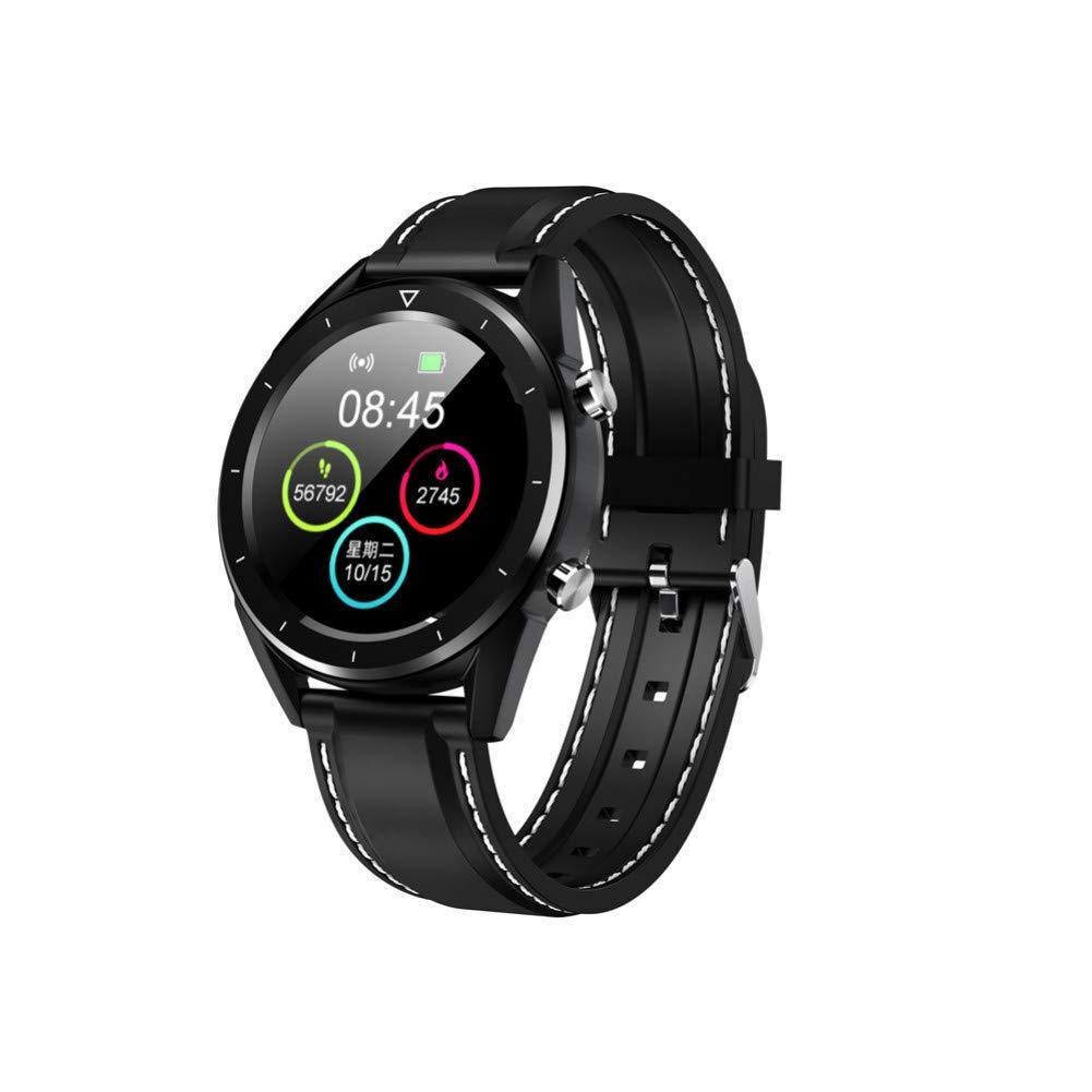 Cuir noir ZLOPV Montre Intelligente Montre Intelligente IP68 étanche ECG Tensiomètre Moniteur de Suivi de la Condition Physique Smartwatch Sport Montre-Bracelet Intelligente