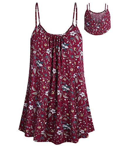 ZKHOECR Paisley Tank Tops for Women Ladies Floral Pattern Pleated Front Tunic Boutique Clothing Classic Sleeveless V Neck Cami Spaghetti Strap Camisole Comfortable Loose Fit Shirt Wine Flower M