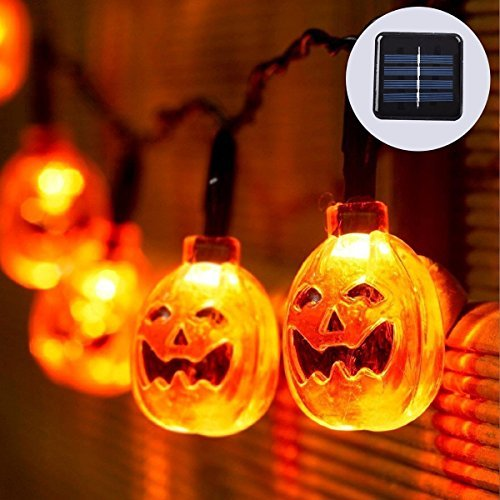 Halloween Pumpkin String Lights 20 ft with 30 LEDs,Solar Powered Jack-O-Lantern Decorative Lights for Patio,Parties (IP65 Waterproof,8 Light Modes,Warm White)]()