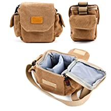 Light Brown Small Sized Vintage Canvas Carry Bag - Compatible with the Bushnell Tour X Rangefinder - by DURAGADGET