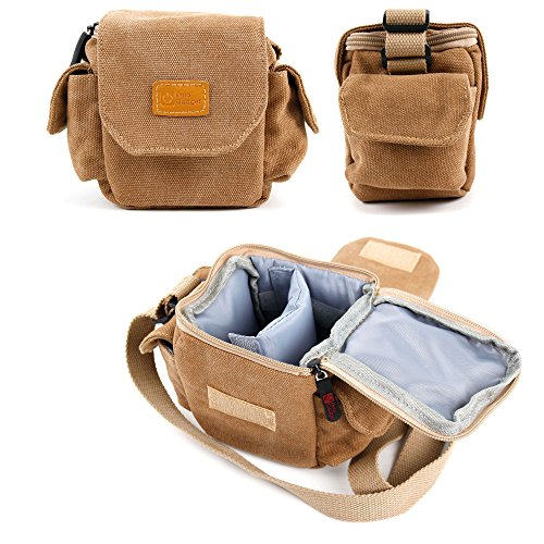 DURAGADGET Light Brown Small Sized Canvas Carry Bag for New TomTom Bandit Action Camera - With Multiple Pockets, Customizable Interior Storage Compartment & Adjustable Shoulder Strap