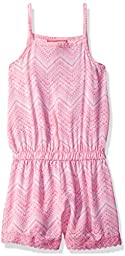 Dream Star Big Girls\' Sleeveless Printed Challis Romper with Crochet Trim At Hem, Aurora Pink, M/ 10-12