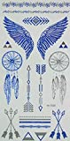 GGSELL Blue and silver Metallic Temporary tattoos Jewelry design, feathers and wings by GGSELL