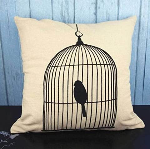 dolly2u 1pcs Square Fashion linen Throw Pillow Cases Home Sofa Decorative Cushion Cover#bird cage