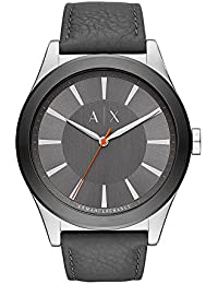 Armani Exchange Mens Nico Quartz Stainless Steel and Leather Casual Watch, Color: