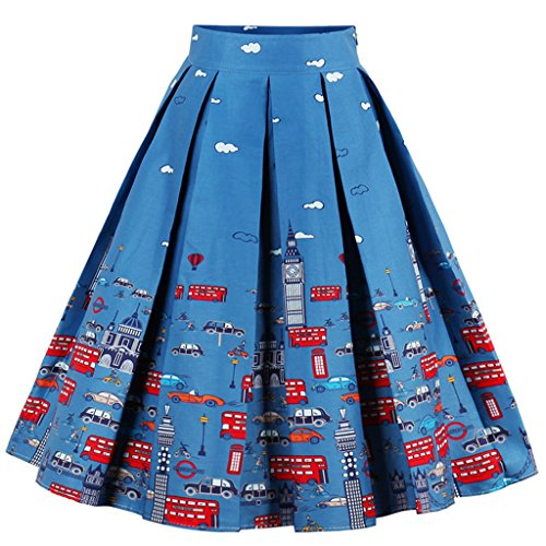 Dressever Women's Vintage A-line Printed Pleated Flared Midi Skirts Cars Small - London Womens Dress