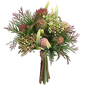 "SilksAreForever 7.5"" Protea, Thistle & Sedum Artificial Flower Bouquet -Green/Burgundy (Pack of 6) 80"