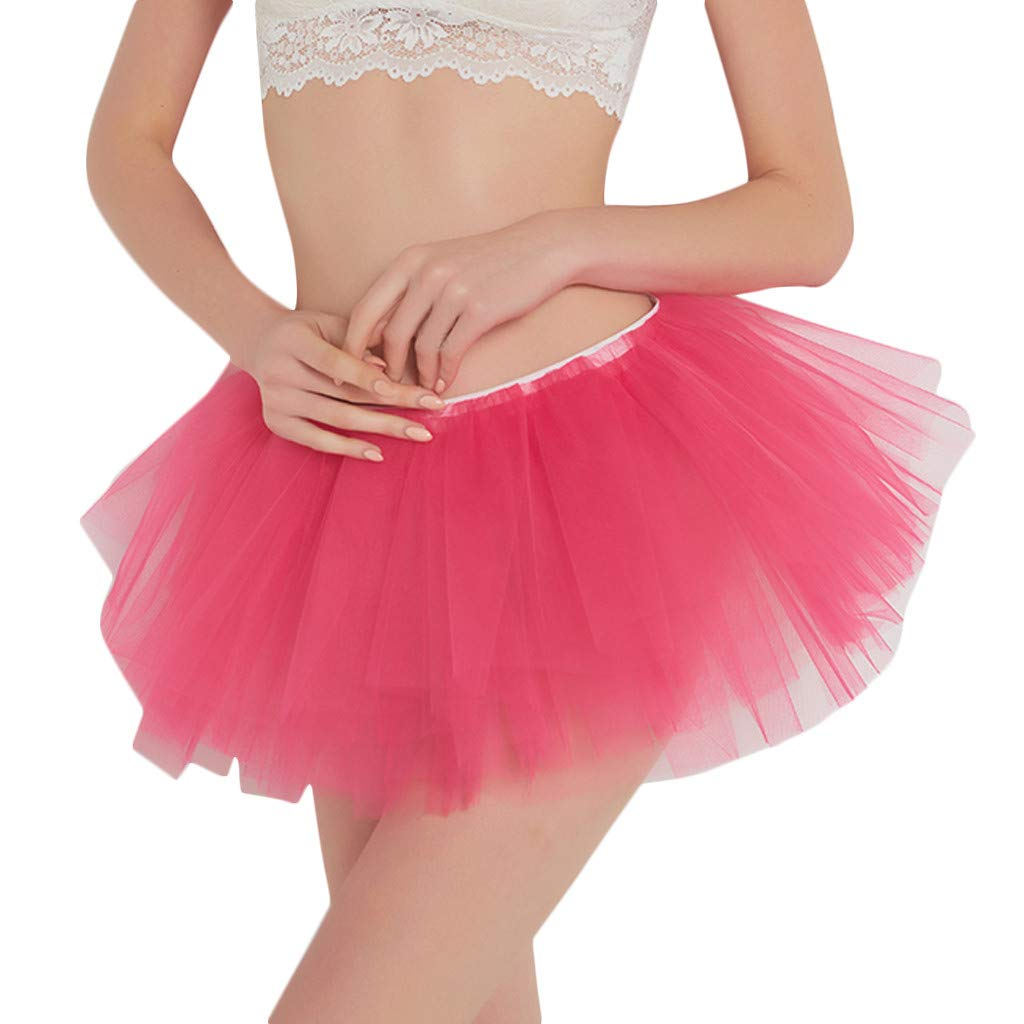 Pervobs Womens Cute Summer Solid Pleated Gauze Elastic Waist Short Skirt Loose Adult Tutu Dancing Skirt(Free, Hot Pink) by Pervobs Dress (Image #1)