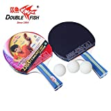 2 Pack – Double Fish Ping Pong Paddle Set With 3 Ping Pong Balls And Carry Bag, Table Tennis Racket (D-2)