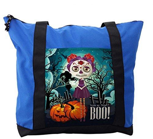 Lunarable Halloween Shoulder Bag, Girl Sugar Skull Makeup, Durable with Zipper]()