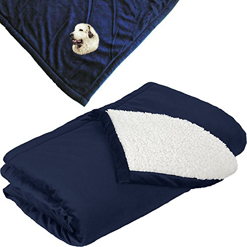 - Cherrybrook Dog Breed Embroidered Mountain Lodge Reversible Blanket - Navy - Great Pyrenees