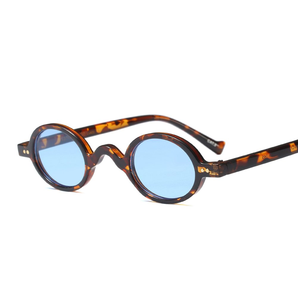 Tiny Sunglasses Male Round Vintage Sun Glasses for Women Summer Accessories (leopard with blue)