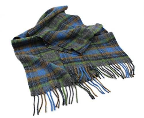 "Green Wool Scarf Lambswool Blue Plaid 10"" x 80"" Irish (Mens Wool Scarves)"
