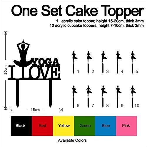 TC0153 I Love Yoga Party Wedding Birthday Acrylic Cake Topper Cupcake Toppers Decor Set 11 pcs by jjphonecase (Image #3)