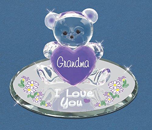Love Glass Bear (Glass Baron Bear Grandma I Love You Figurine Great Gift Mother's Day Birthday)