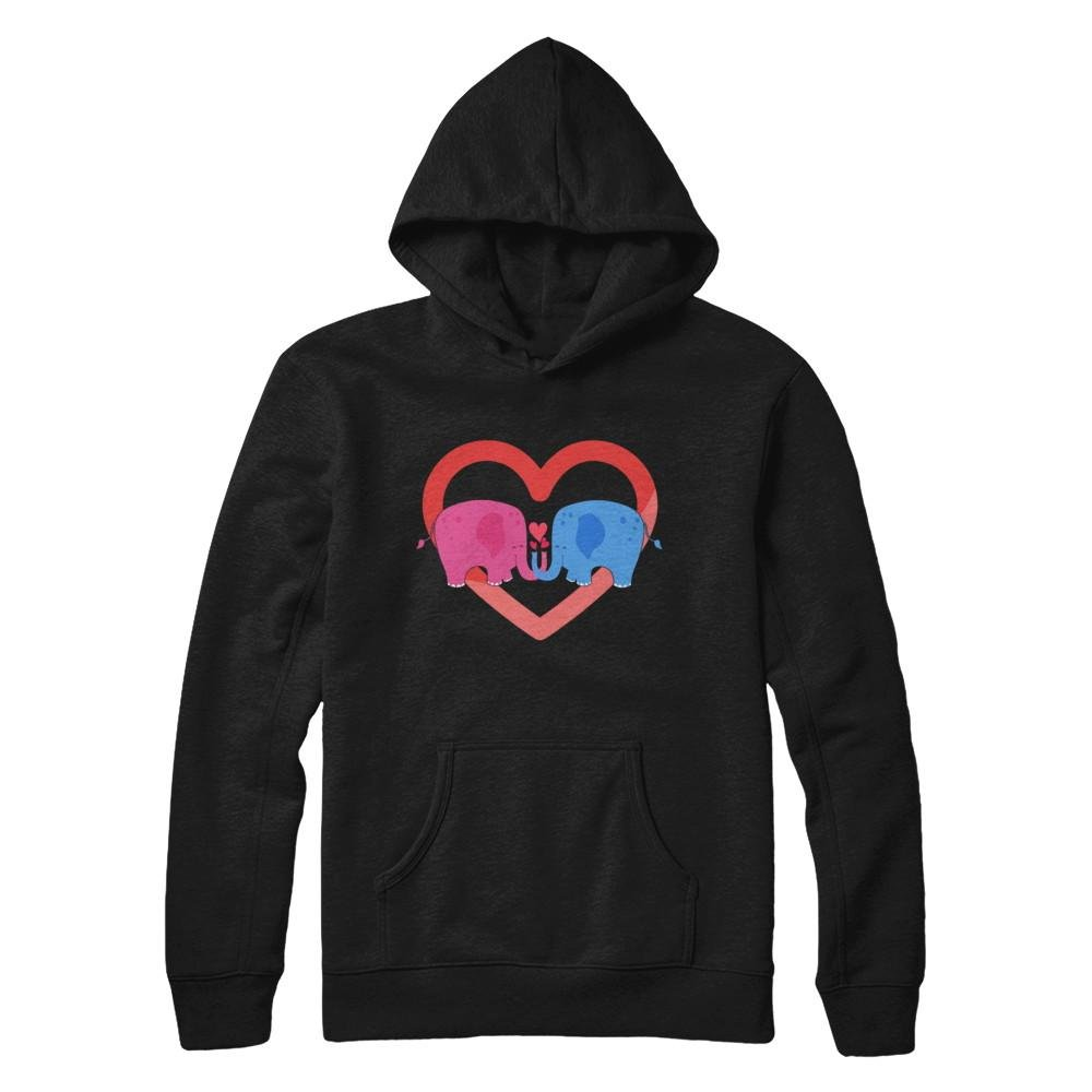 Pullover Hoodie Teely Shop Womens Womans Couple Elephant Heart Valentines Day Gildan