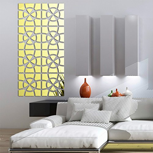 Alrens TM 48pcs/Set Geometric Art Mirror Effect 3D Wall Sticker TV Backdrop Door Decorative DIY Painting Acrylic Sticker Living Room Home Decor 30cm x 120cm