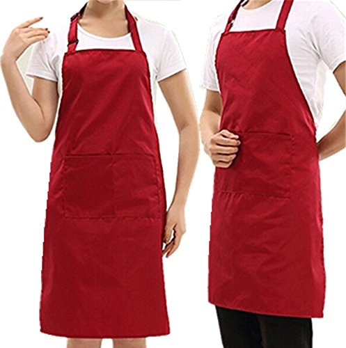 Mullsan Adjustable Bib Apron with Pockets for Women and Men - 30-inch Length by 27-inch Width-2 PACK (Dark Red) by MULLSAN