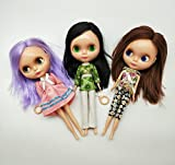LINE-S Eyes Color Change Dolls for 3 Year Old Girls,Blythe Style Big Head Dolls No Bangs,Straight or Curly Long Hair Dolly Toys (style and color vary)