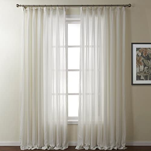 Royhom 100″ W x 84″ L Multi Size Morden Sheer Window Curtain/Jacquard Sheer/White Sheer/Pleated Top Sheer/Large Curtain/Large Window/One Panel