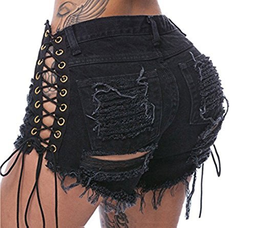 ChongErfei Women's Sexy High Waist Casual Mini Hot Pants Cut Off Denim Jeans Shorts Pants (Large, Black)