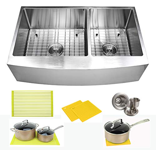 36 Inch Farmhouse Apron Front Stainless Steel Kitchen Sink Package  16 Gauge Curved Front Double Bowl Basin  Complete Sink Pack  Bonus Kitchen Accessories (Package Stainless Sink)