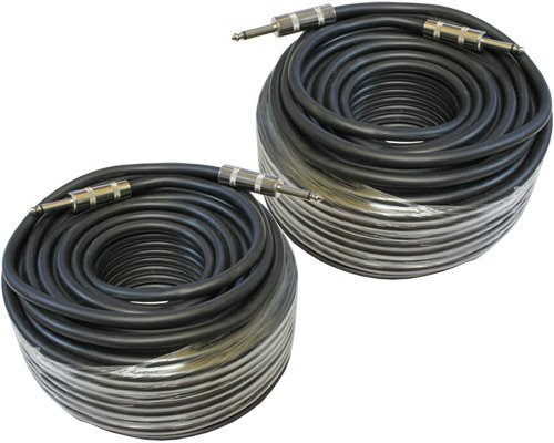 MCSPROAUDIO 12 Gauge Speaker Cables 2 Cable Pack (100 Foot, 1/4 inch to 1/4 inch)