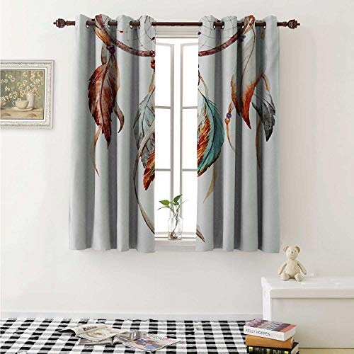 shenglv Feather Window Curtain Fabric Watercolor Dream Catcher Native American Inspirations Traditional Curtains and Drapes for Living Room W55 x L63 Inch Burnt Sienna Seafoam Grey