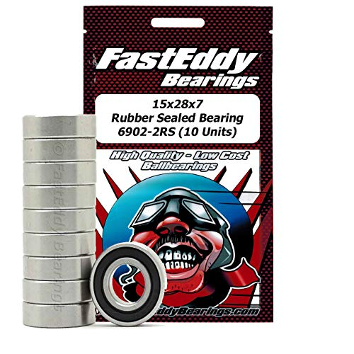 FastEddy Bearings 15x28x7 Rubber Sealed Bearing 6902-2RS (10 Units)