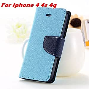 New Luxury Pu Leather Wallet Case For Iphone 5 5S 5G / 4 4S 4G Flip Phone Cases Stand Wallet Card Holder Cover For Iphone5 Case Light Blue For 4 4S-light blue for 4 4s