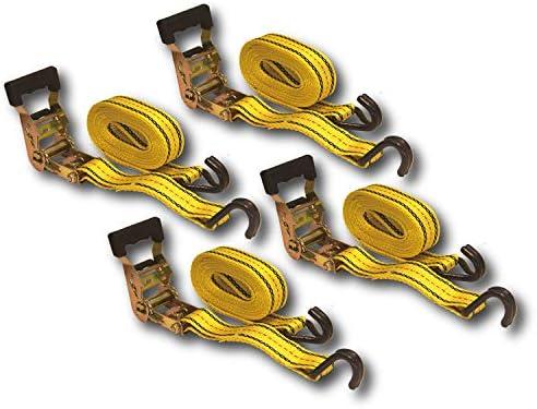 [スポンサー プロダクト]HFS(R) ラチェット式ベルト 荷締機 4個セット 3.8cmx4.5m 破断強度1.35t 荷締めベルト 使用簡単 締付固定 多用途 引越し 運搬用 ラッシングベルト