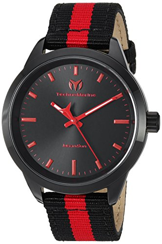 Technomarine Women's MoonSun Stainless Steel Quartz Watch with Nylon Strap, Black, 18 (Model: TM-117008