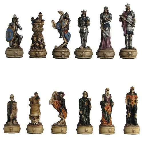 Worldwise Imports 3 1/4'' Painted Polystone Skeleton Chess Pieces ()
