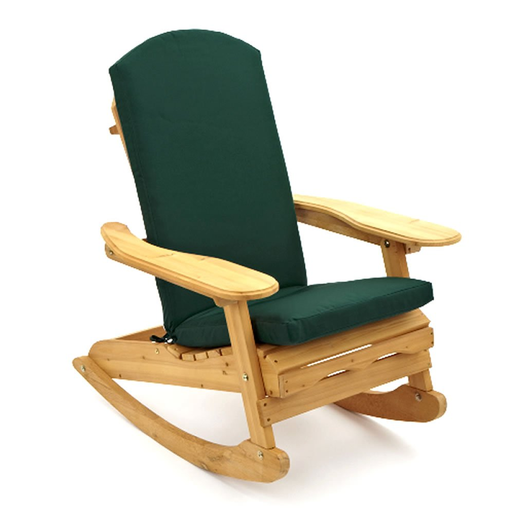 Trueshopping Adirondack Bowland Garden/Patio Rocking Chair with Luxury Cushion in Black