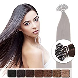 Neitsi 20″ 25s/lot 1g/s Jet Black 100% Remy Human Hair Nail U Tip Hair Extension (1#)